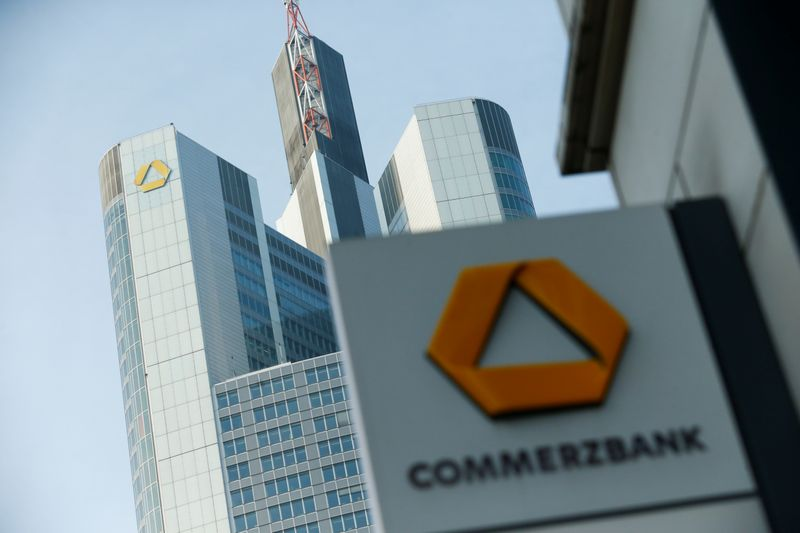A Commerzbank logo is pictured before the bank's annual news conference in Frankfurt