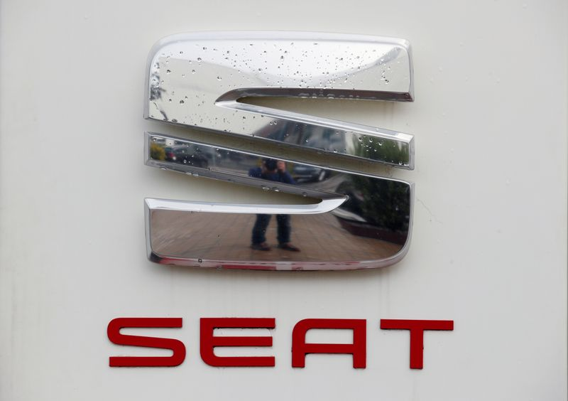 A SEAT logo is seen at the SEAT car factory in Martorell
