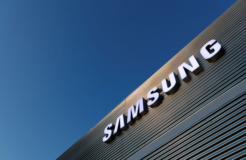 The logo of Samsung is seen on a building during the Mobile World Congress in Barcelona