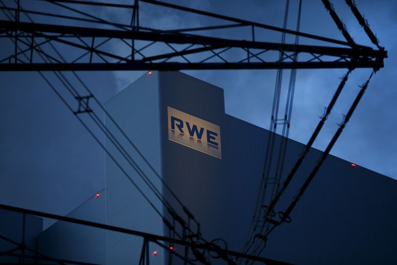 The logo of RWE, one of Europe's biggest electricity and gas companies is seen at block F/G of RWE's new coal power plant in Neurath