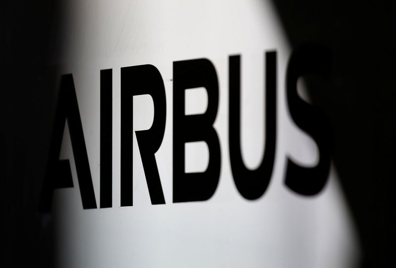 The logo of Airbus is pictured at the aircraft builder's headquarters of Airbus in Colomiers near Toulouse