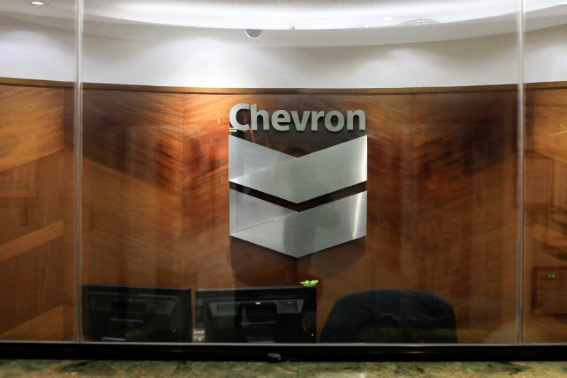 The logo of Chevron is seen at the company's office in Caracas