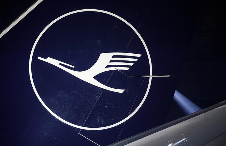 Lufthansa presents its new logo during a press event in a maintenance hangar of the airline at the airport in Frankfurt am Main