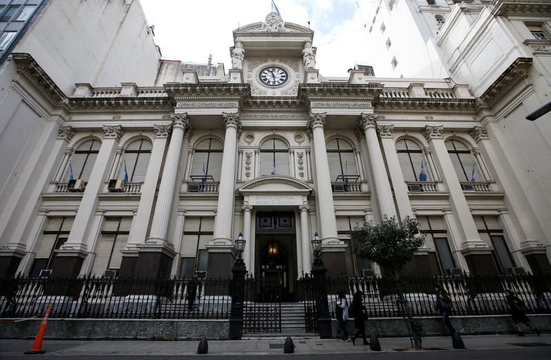 A general view of the facade of Argentina's Central Bank, in Buenos Aires