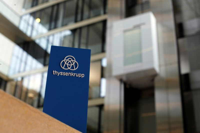 FILE PHOTO: The logo of Thyssenkrupp is seen near elevators at its headquarters in Essen, Germany