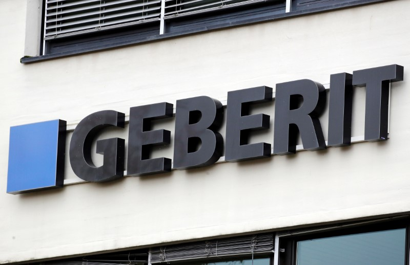 Logo of shower toilet and plumbing supplies maker Geberit is seen in Rapperswil-Jona