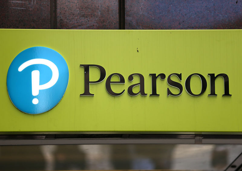 FILE PHOTO: The company logo is displayed outside the Pearson offices in London