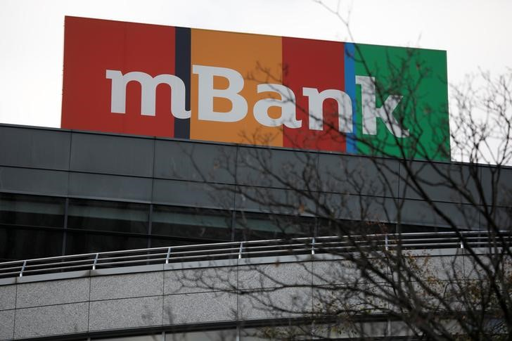 Commerzbank's Polish unit mBank's logo is seen in Warsaw
