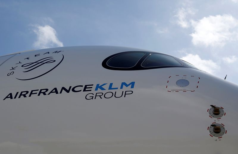 Logo of Air France KLM Group is pictured on the first Air France airliner's Airbus A350 during a ceremony at the aircraft builder's headquarters of Airbus in Colomiers