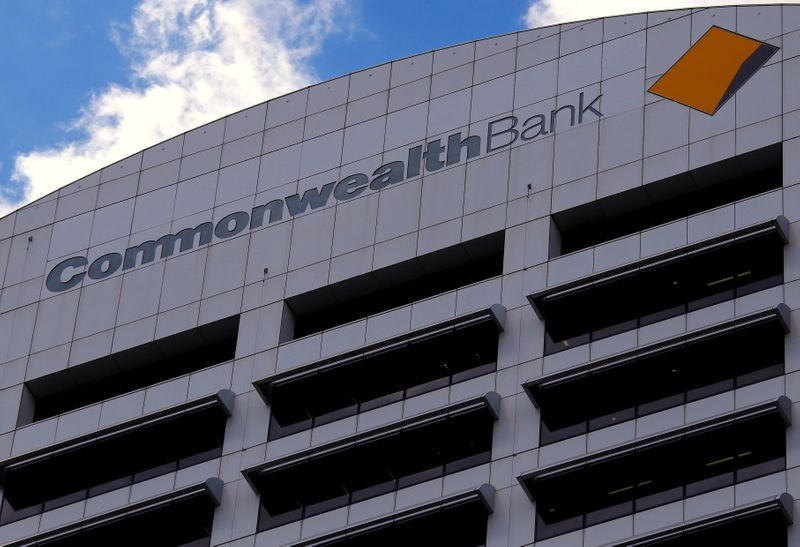 FILE PHOTO: The logo for the Commonwealth Bank of Australia adorns their head office in central Sydney