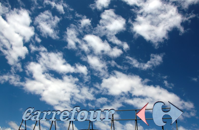 FILE PHOTO: A Carrefour logo is seen on a Carrefour Hypermarket store in Antibes