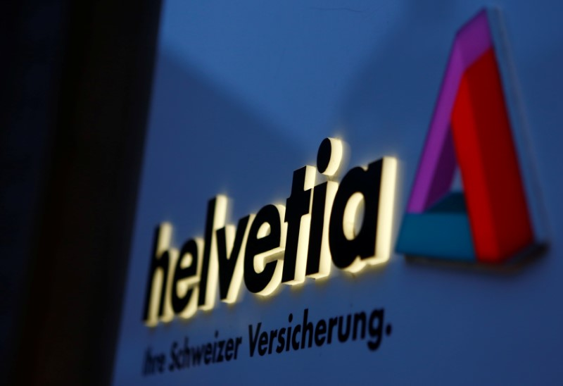 The logo of Swiss Helvetia insurance is seen at an office building in Vienna
