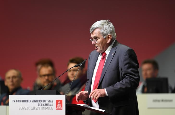 Joerg Hofmann leader of Germany's largest industrial union IG Metall speaks to delegates during the trade union congress in Nuremberg