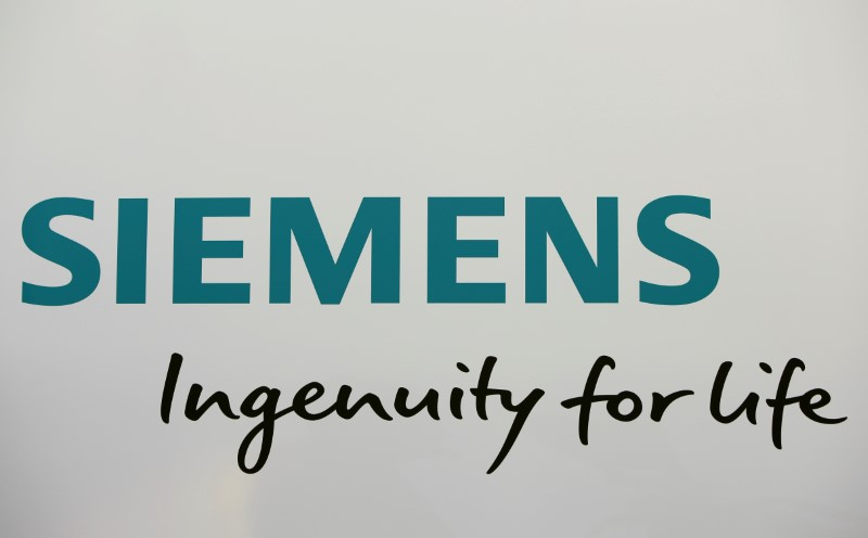 Siemens AG logo is seen during official opening of the headquarters in Munich