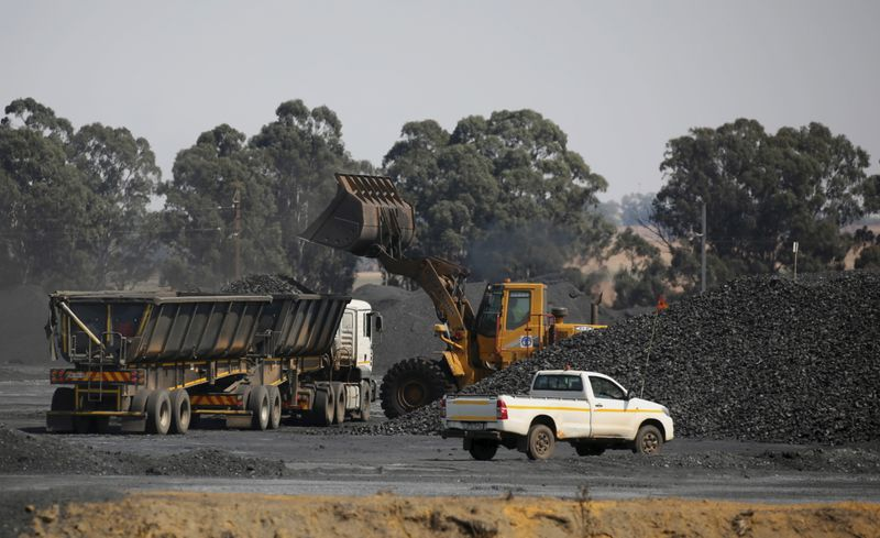 Coal is loaded onto a truck at the Woestalleen colliery near Middleburg in Mpumalanga province,