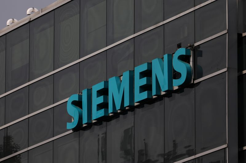 A logo of Siemens is pictured on a building in Mexico City