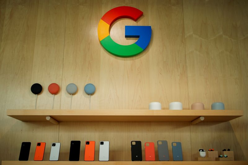 FILE PHOTO: The new Google Pixel 4 smartphone and accessories are displayed during a Google launch event in New York