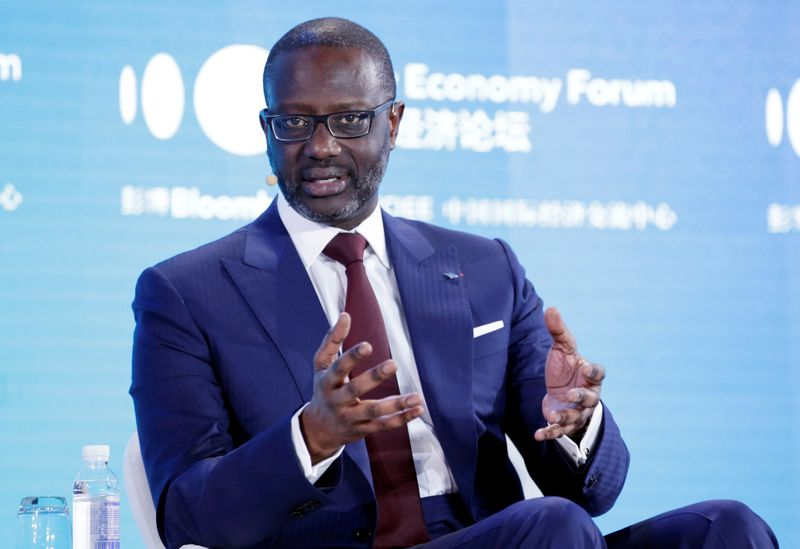 FILE PHOTO: CEO of Credit Suisse Group Tidjane Thiam attends the 2019 New Economy Forum in Beijing