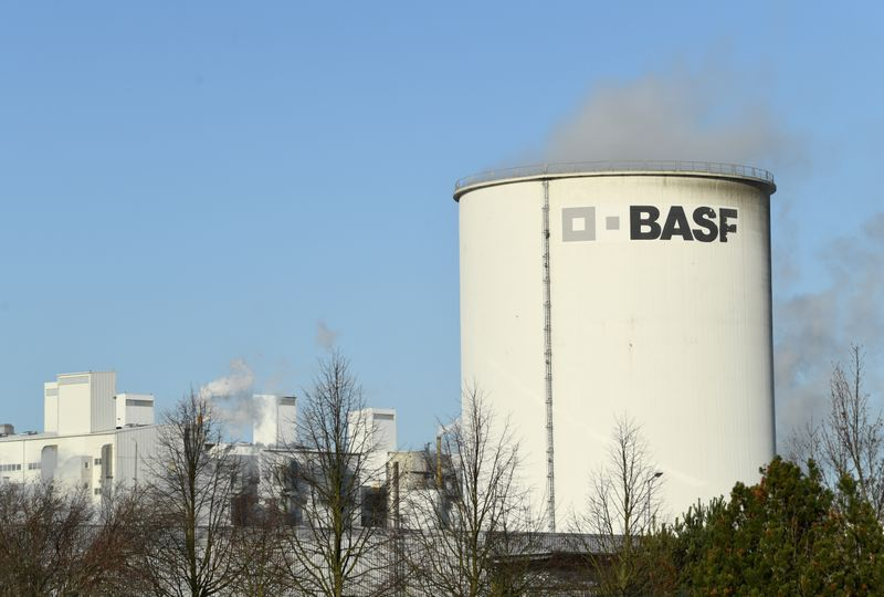 A general view of the German chemical company, BASF Schwarzheide GmbH in Schwarzheide