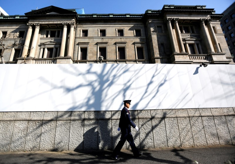 FILE PHOTO: A security guard walks past the front of the Bank of Japan headquarters in Tokyo