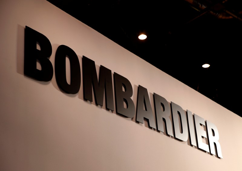 A Bombardier logo is pictured during EBACE in Geneva