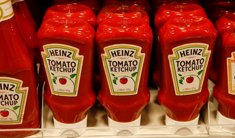 Bottles of Heinz tomato ketchup of U.S. food company Kraft Heinz are offered at a supermarket of Swiss retail group Coop in Zumikon