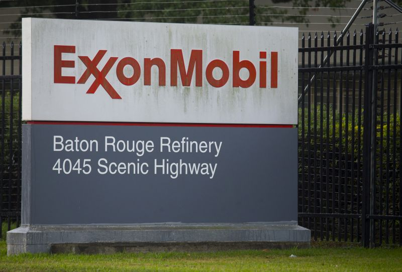 FILE PHOTO: A sign is seen in front of the Exxonmobil Baton Rouge Refinery in Baton Rouge, Louisiana.