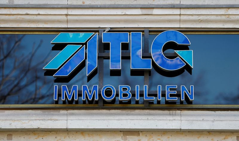 The logo of TLG Immobilien AG commercial properties is pictured at the headquarters in Berlin