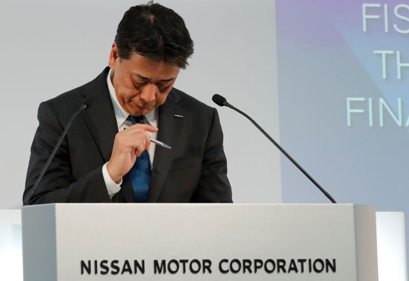Nissan Motor Co CEO Makoto Uchida attends a news conference at the company's headquarters in Yokohama