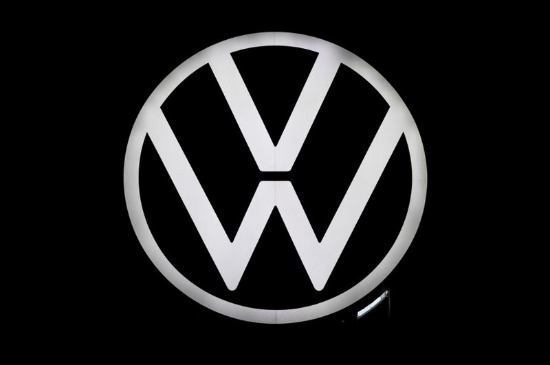 A new logo of German carmaker Volkswagen is unveiled at the VW headquarters in Wolfsburg