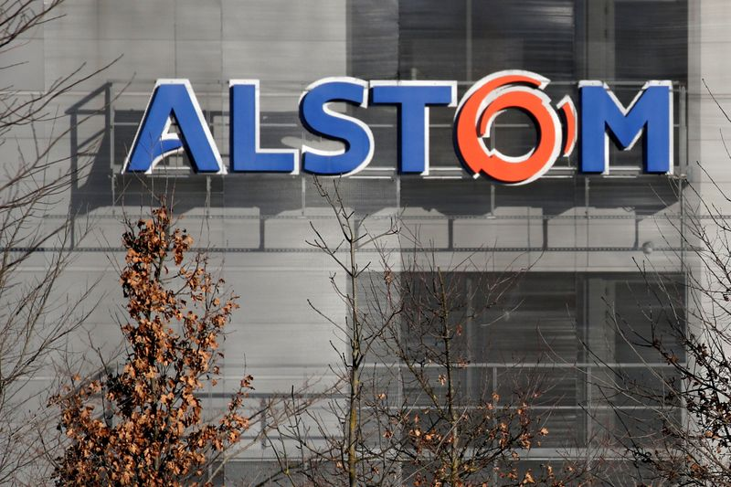 A logo of Alstom is seen at the Alstom's plant in Semeac near Tarbes