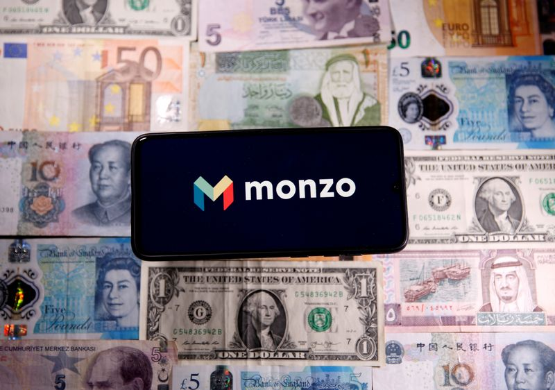 FILE PHOTO: Smartphone with Monzo logo is placed on the banknotes in this illustration
