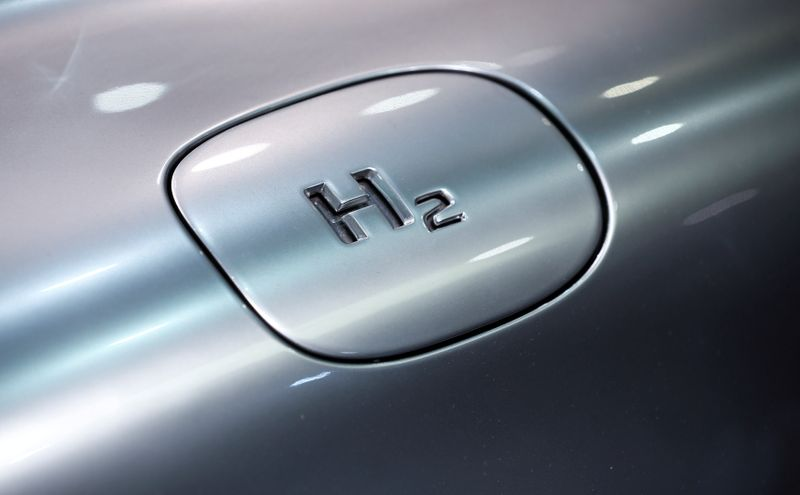 FILE PHOTO: The chemical symbol hydrogen is seen on a Mercedes F125 concept car in Hanover