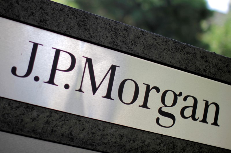 The logo of Dow Jones Industrial Average stock market index listed company JPMorgan Chase (JPM) is seen in Los Angeles