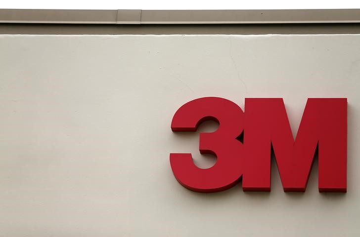FILE PHOTO:  The logo of Down Jones Industrial Average stock market index listed company 3M