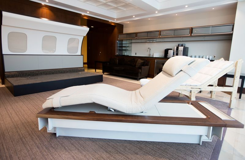 FILE PHOTO: Prototypes of chaise lounge for Bombardier's Global 7500, the first business jet to have a queen-sized bed and hot shower, is shown during a media tour in Montreal