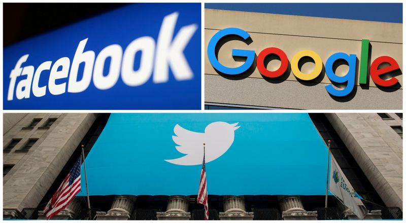 FILE PHOTO: A combination photo from files of Facebook Google and Twitter logos