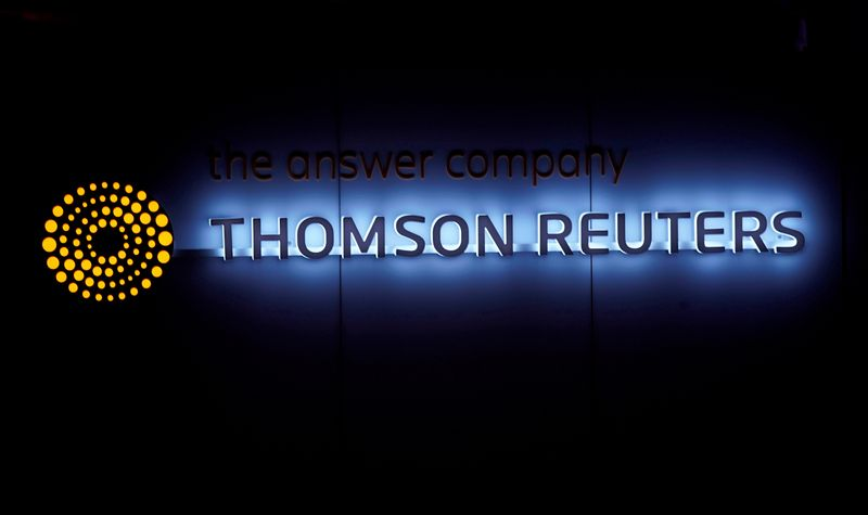FILE PHOTO: A Thomson Reuters logo is pictured on a building during the World Economic Forum (WEF) annual meeting in Davos