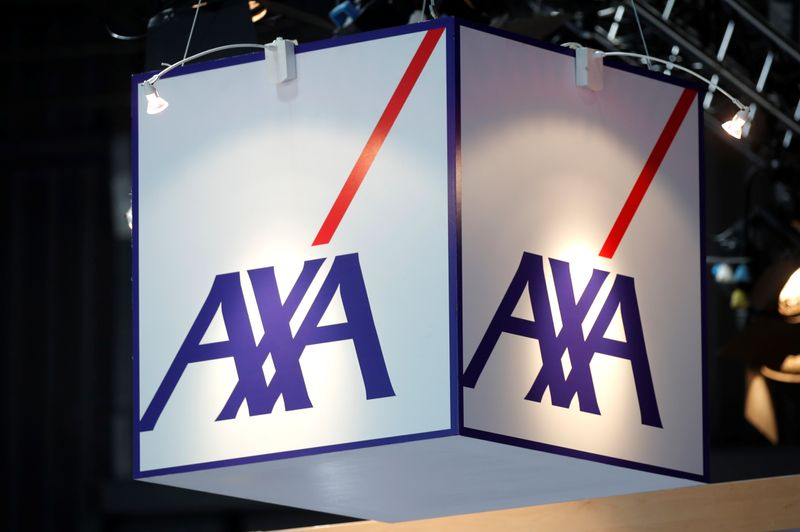 Logo of Axa t is seen at VivaTech fair in Paris