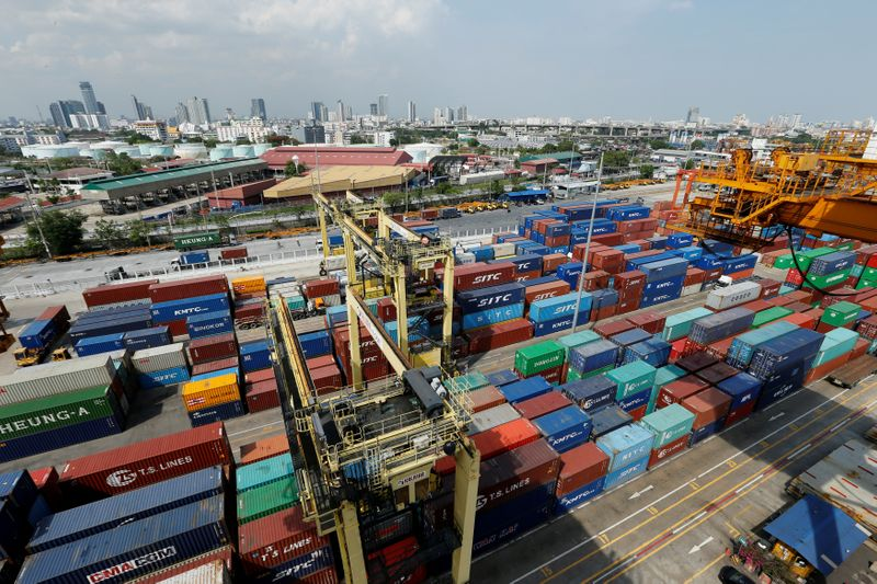 A view of the port of Bangkok in Thailand