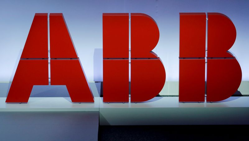 Logo of Swiss power technology and automation group ABB is seen during the company's annual news conference in Zurich
