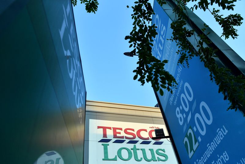 An entrance of Tesco Lotus retail shop is seen in Bangkok, Thailand