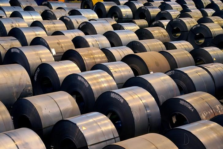 Steel rolls are lined up at the ArcelorMittal steel plant in Sestao