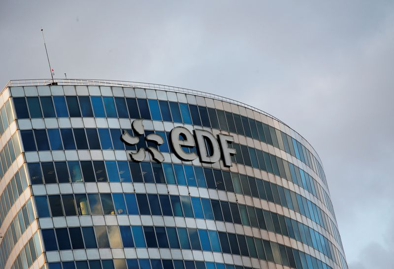 A logo of French electric company EDF is seen at an office building in La Defense business district in Courbevoie near Paris