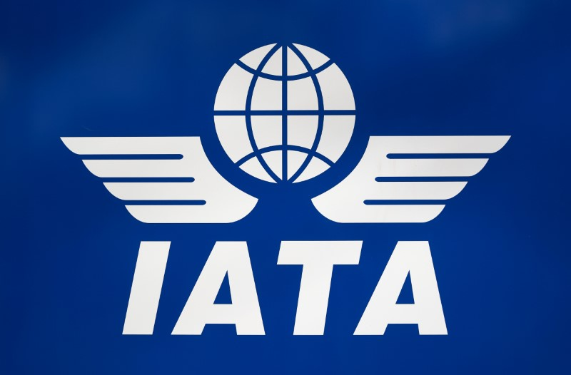 A logo of IATA is pictured in Geneva