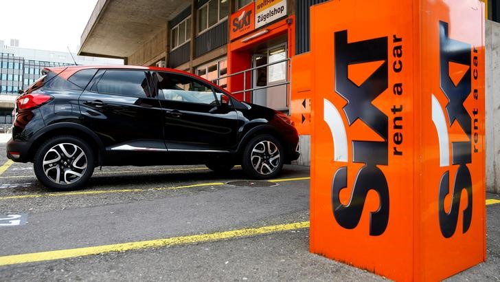 Logo of Sixt car rental is seen in front of a branch office in Zurich
