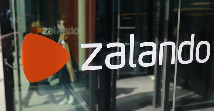The logo of fashion retailer Zalando is pictured at the new headquarters in Berlin