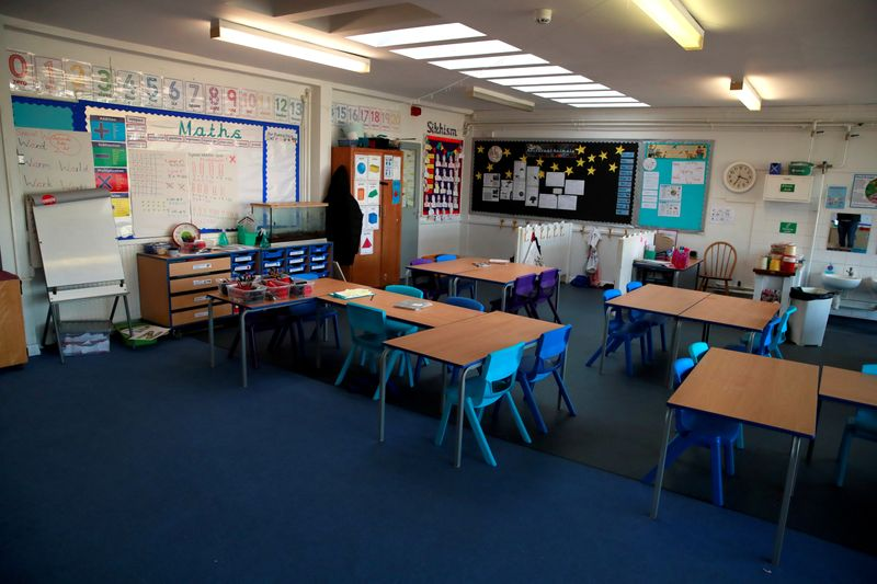 FILE PHOTO: A general view inside an empty classroom at a primary school in Hertford