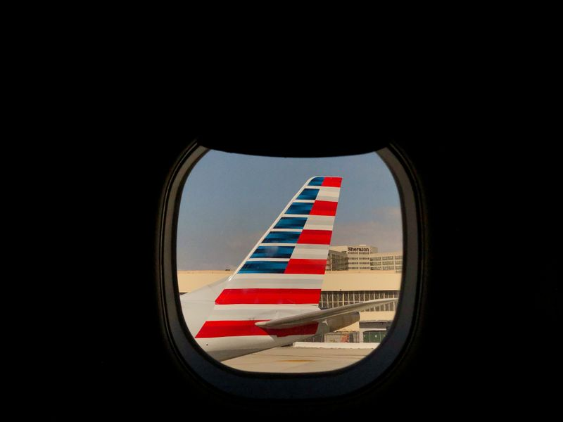 FILE PHOTO: An American Airlines airplane sits on the tarmac at LAX in Los Angeles