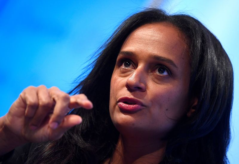 FILE PHOTO: Isabel dos Santos, Chairwoman of Sonangol, speaks during a Reuters Newsmaker event in London, Britain